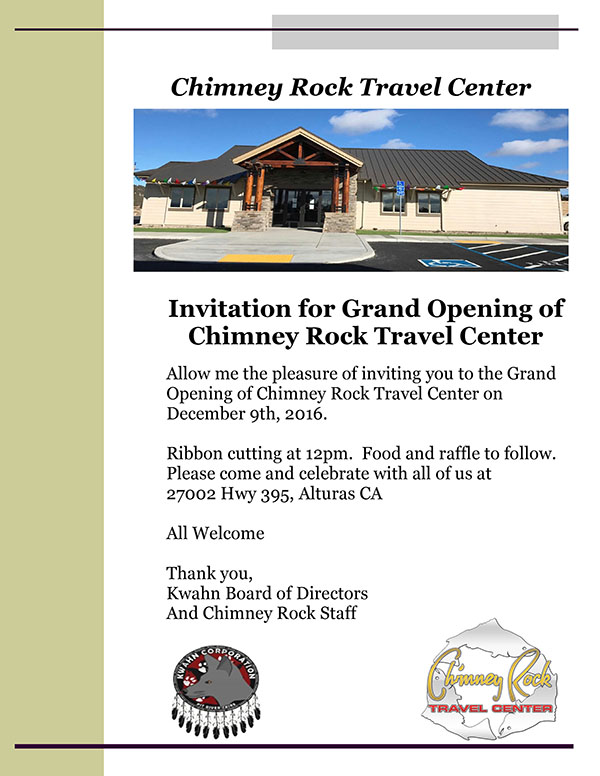 Chimney Rock Travel Center Grand Opening December 9th, 2016