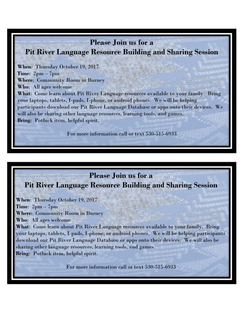 Pit River Language Resource Building and Sharing Session