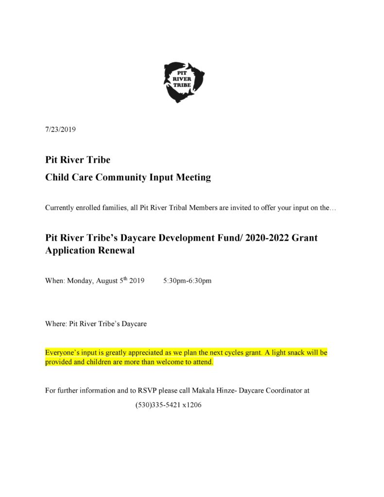 Child Care Community Input Meeting